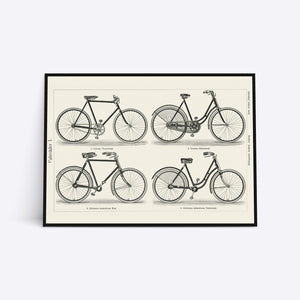 Bicycles illustration plakat i ramme
