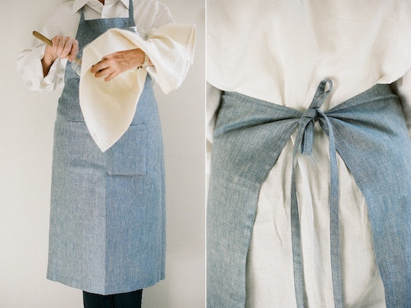 Fog Linen Blue Full Apron