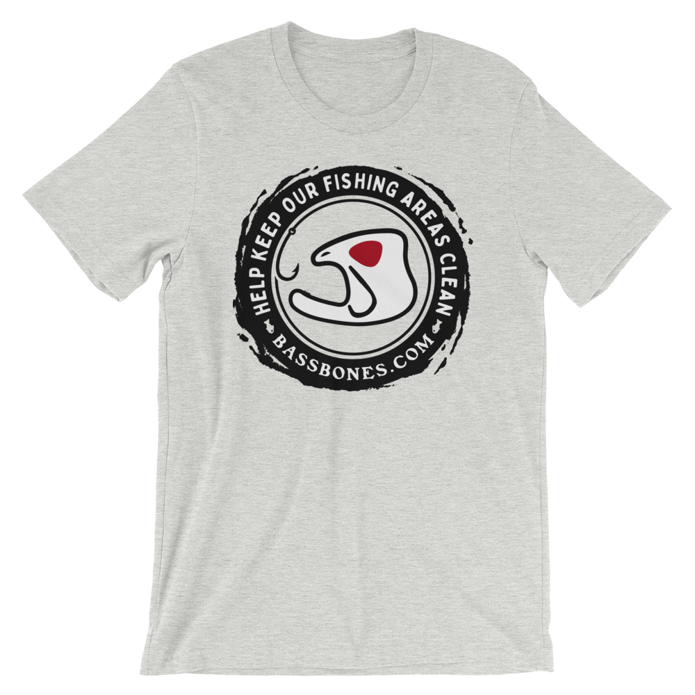 """HELP KEEP OUR FISHING AREAS CLEAN"" Bass Bones Mens Fishing TShirt"