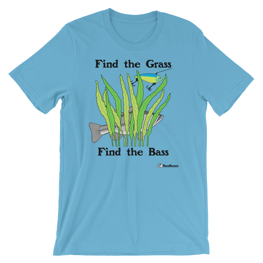 """Find The Grass"" Bass Bones Mens Fishing TShirt"