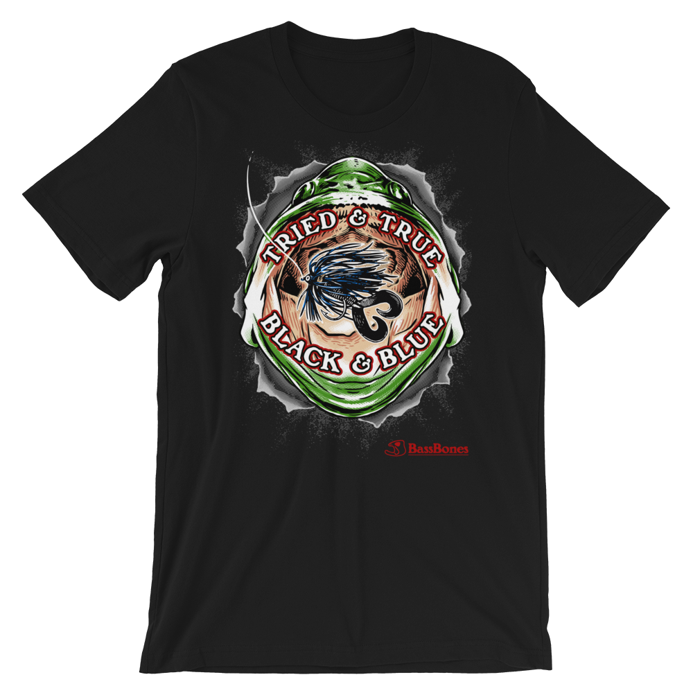"""Tried & True"" Bass Bones Mens Fishing TShirt"