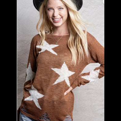 Starfish On the Beach Distressed Lightweight Sweater in Bronze
