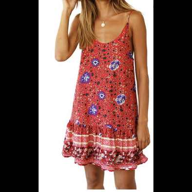Gulf Coast Girl Spaghetti Strap Dress in Red\Multi