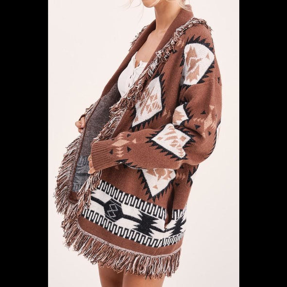Monica Tribal Fringe Cardigan in Ranch Earth Brown