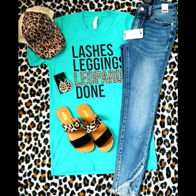 Lashes, Leggings, Leopard Graphic Tee in Aqua