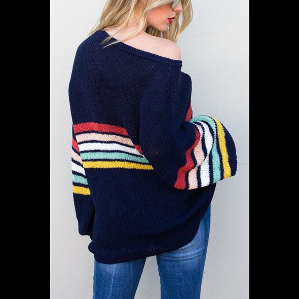Somewhere Over Retro Stripe Sweater