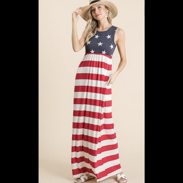 Miss Liberty Stars and Stripes Maxi Dress