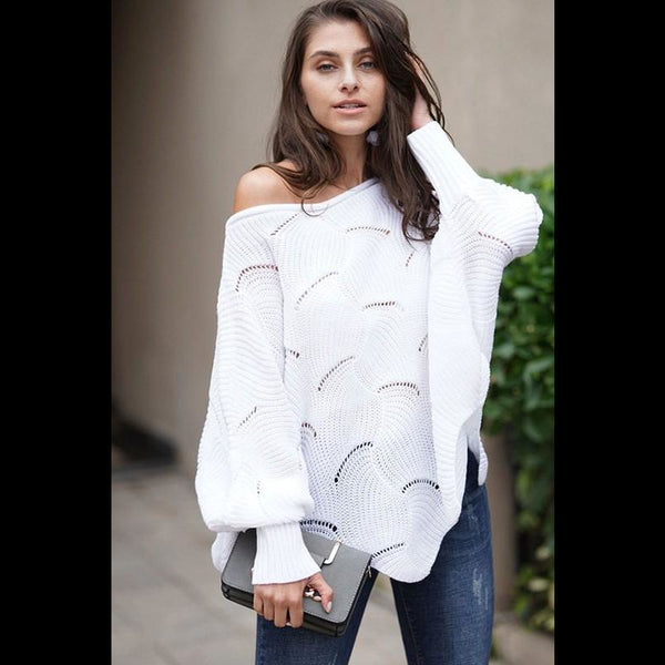 Frosted Glass Balloon Sleeve Sweater in White
