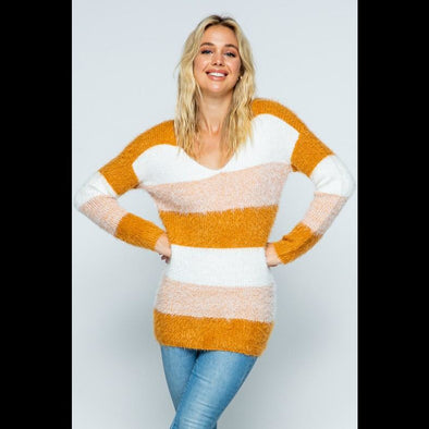 Line 'Em Up Striped Fuzzy Eyelash Sweater in Mustard