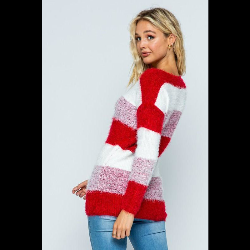 Line 'Em Up Striped Fuzzy Eyelash Sweater in Cranberry