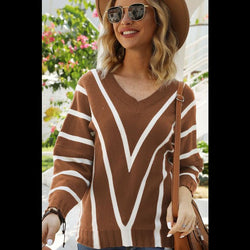 Change My Mind Striped V-Neck Sweater in Tobacco Brown