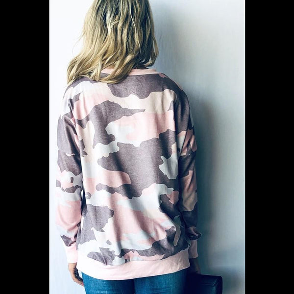Girly Girl Camo Print Casual Top in Pink