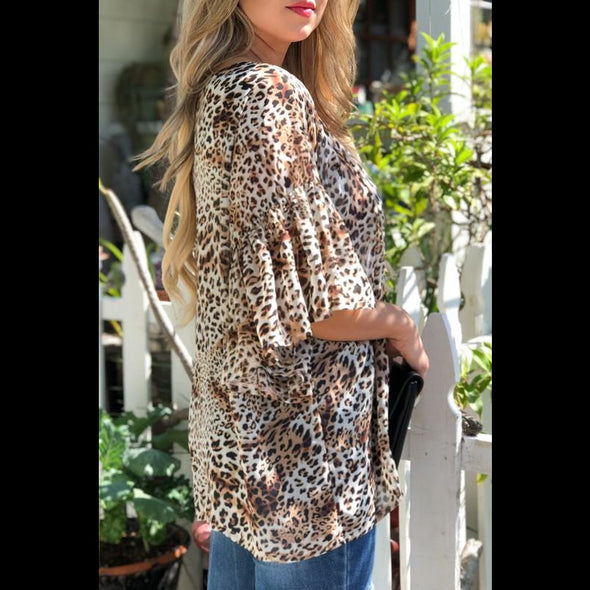 You Make My Heart Sing Ruffle Sleeve Kimono in Mocha