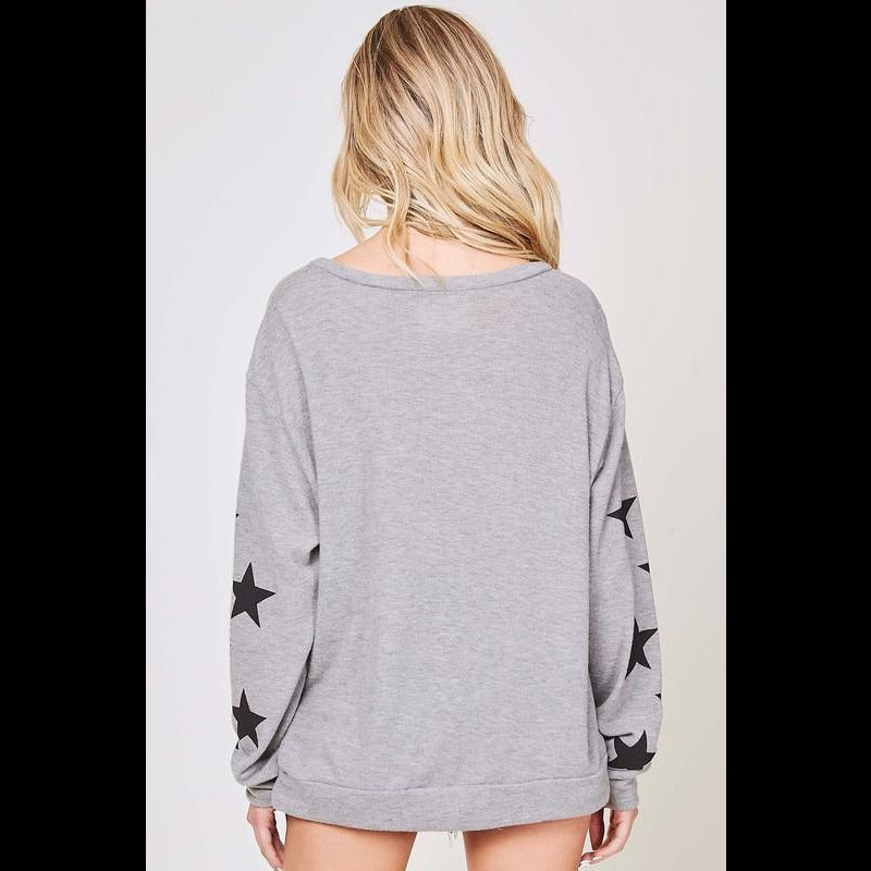 Rock Star Long Sleeve Sweater Top in Heather Gray/Black Stars