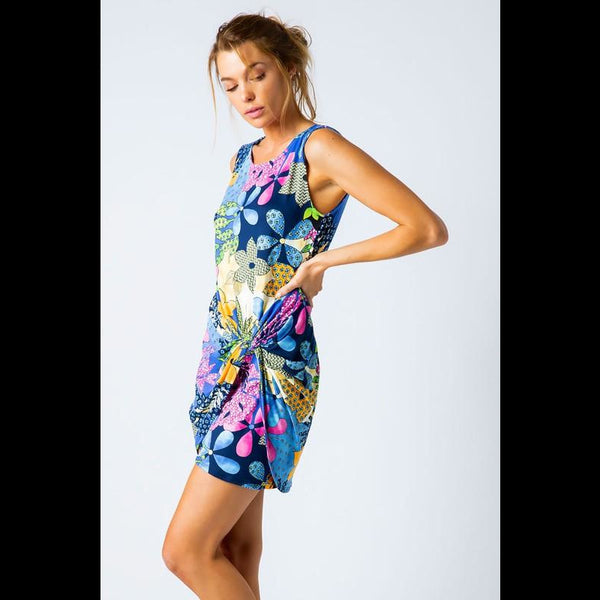 Island Time Tropical Print Sarong Dress