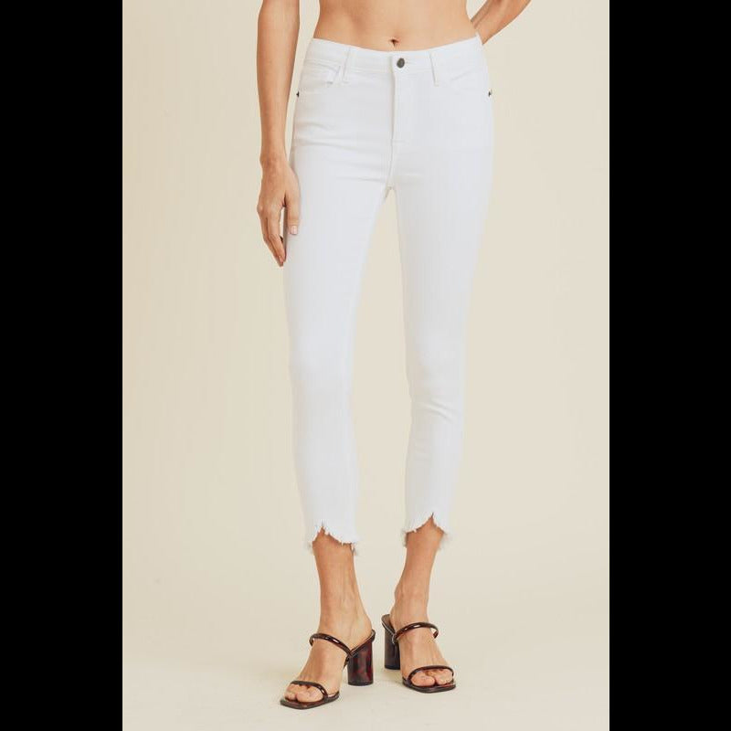 Shellie White Cropped Skinny Frayed Hem Jeans