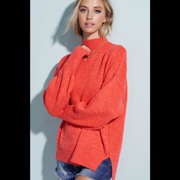 Sweet Heat Turtleneck Sweater in Hot Red