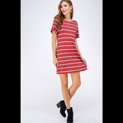 Day Tripper Striped Dress in Terracotta