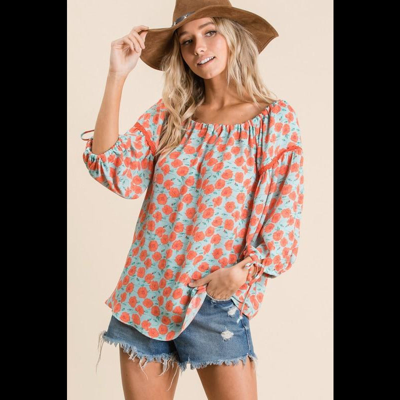 Mangos for Breakfast Top in Coral/Mint
