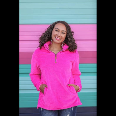 Elle Hot Pink 1/4 Zip Fleece Sherpa Pullover