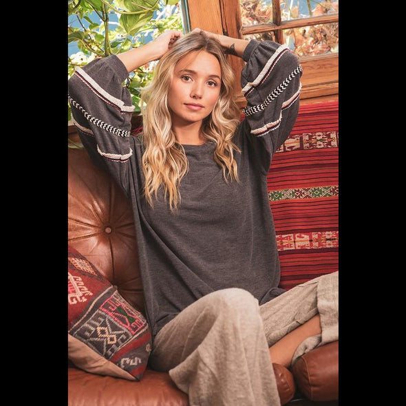 Light the Fire Lantern Sleeve Top in Charcoal