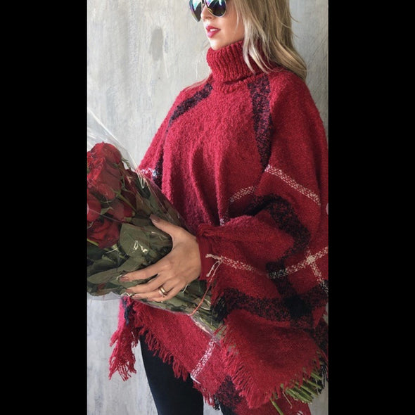 Smoky Mountain Getaway Poncho in Ruby Red Plaid