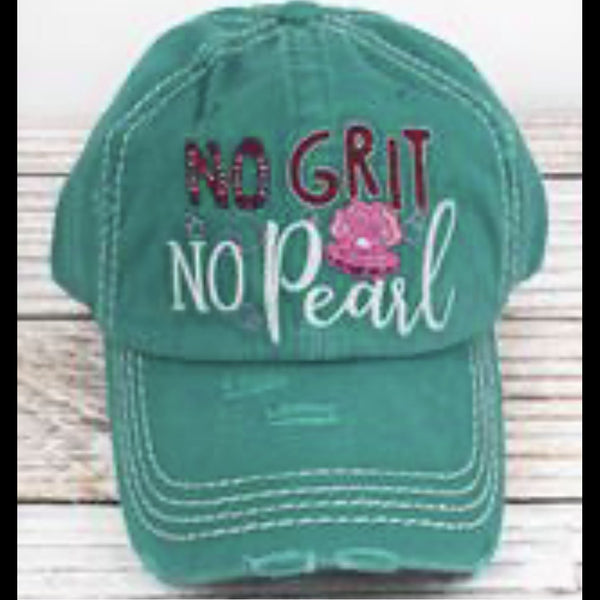 "Distressed ""No Grit No Pearl"" Ballcap in Teal"