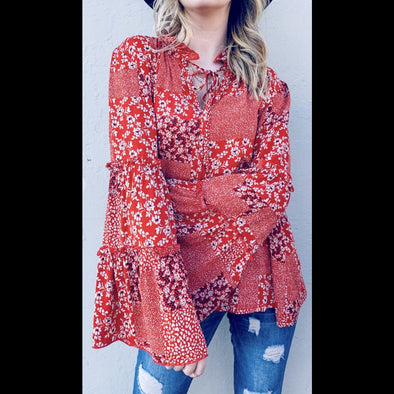Brighter Days Patchwork Floral Print Bell Sleeve Top in Red