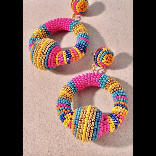 Beaded Hoop Post Earrings - Multi