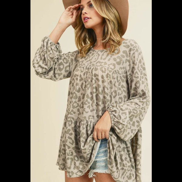Go With the Flow Cheetah Print Poet Top in Taupe