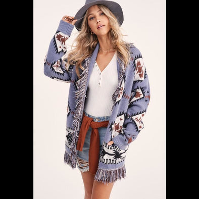 Monica Tribal Fringe Cardigan in Ranch Sky Blue