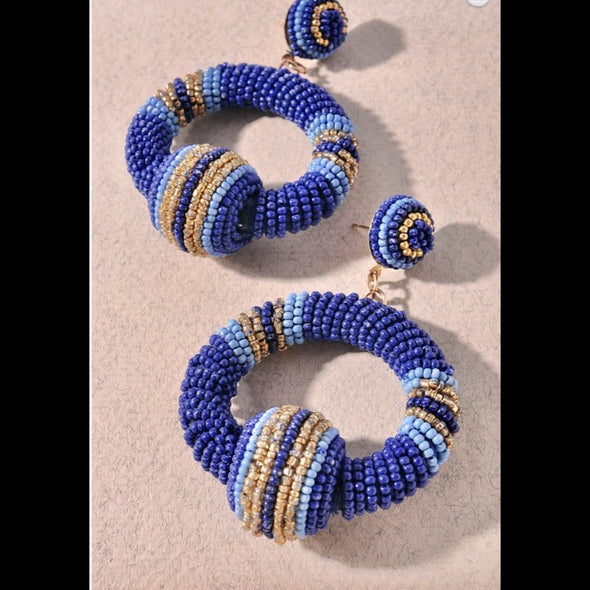 Beaded Hoop Post Earrings - Blue
