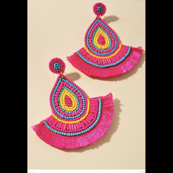 Beaded Fan Post Earrings - Fuchsia