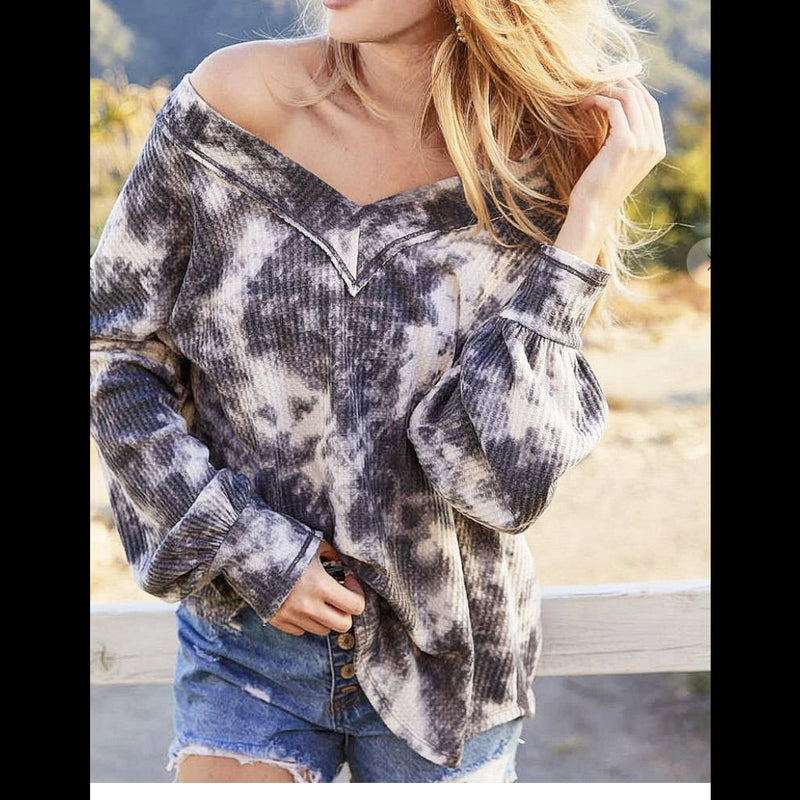 Blurred Edges Tie Dye Waffle Thermal Top