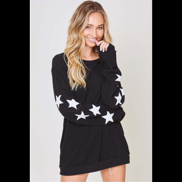 Rock Star Long Sleeve Sweater in Black/White Stars