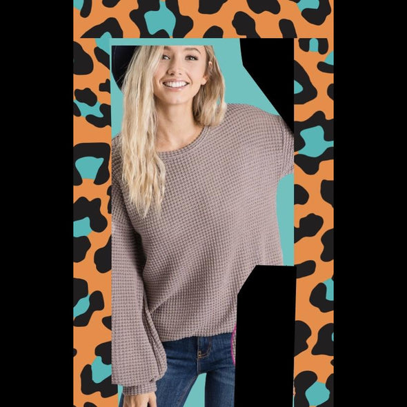 Waffles For Brunch Thermal Top With Balloon Sleeves in Mocha