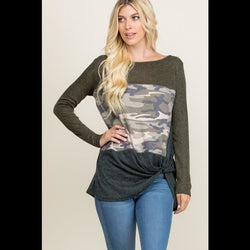 Twist of Fate CURVY Colorblock Twist Front Top in Camo
