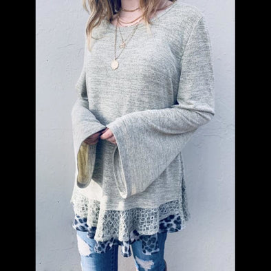 Leopard And Lace Layered Bell Sleeve Tunic