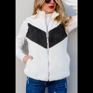 Just Zip It Chevron Stripe Sherpa Fleece Vest