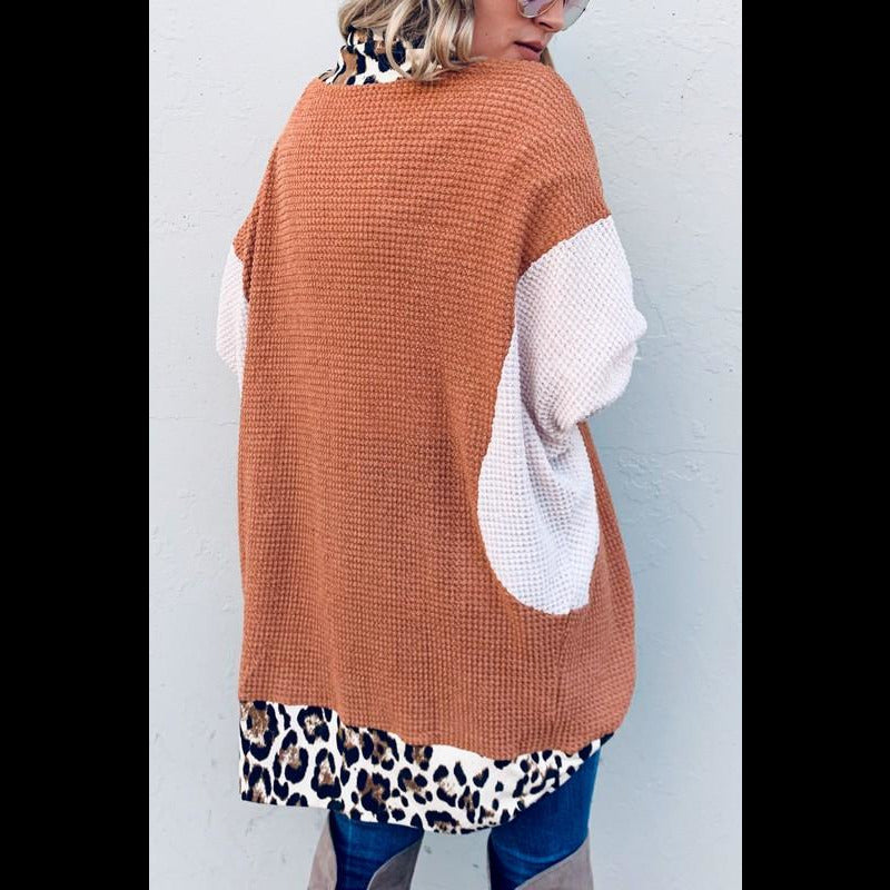 Move It On Over Thermal Color Block/Leopard Trim Cardigan