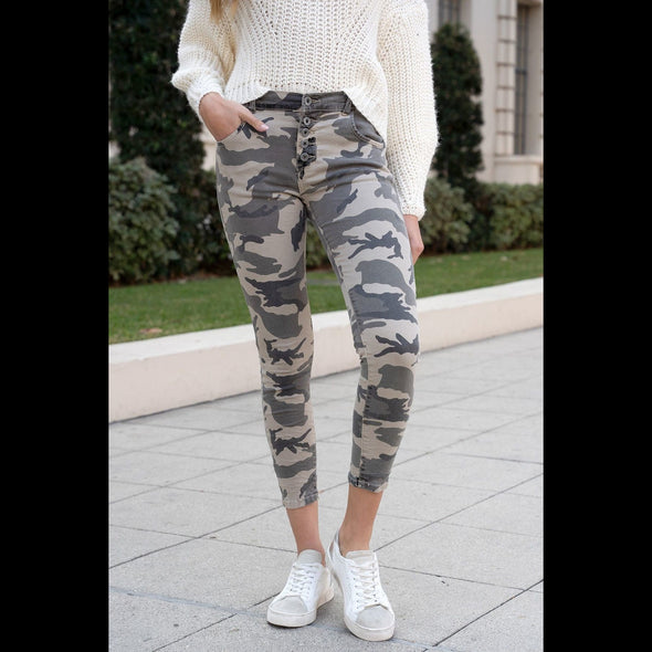 It's the Comfort For Me Beige Camo Crinkle Jeans