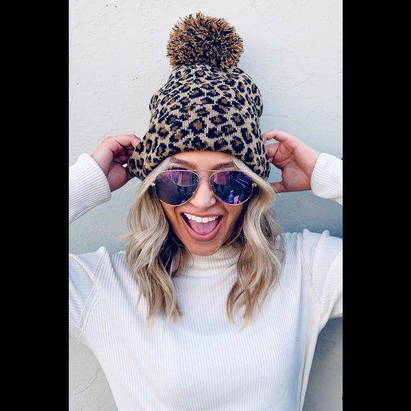 Pounce On It Leopard Pom Pom Beanie