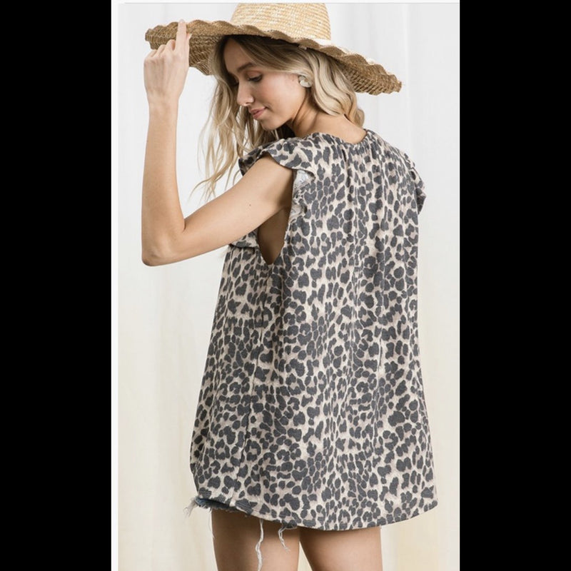 Cool Kitty Leopard Print Babydoll Knit Top