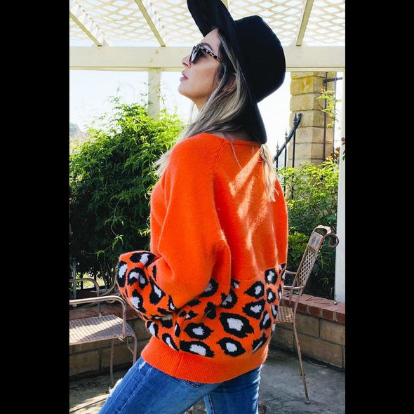 Cowgirl Up Balloon Sleeve Sweater in Orange/Leopard