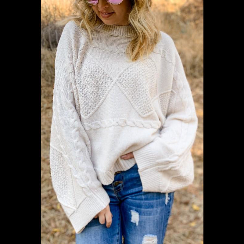 All The Feels Textured Wide Sleeve Pullover Sweater in Ivory