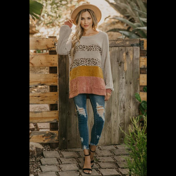 Snowmass Stroll Chenille Color Block Sweater