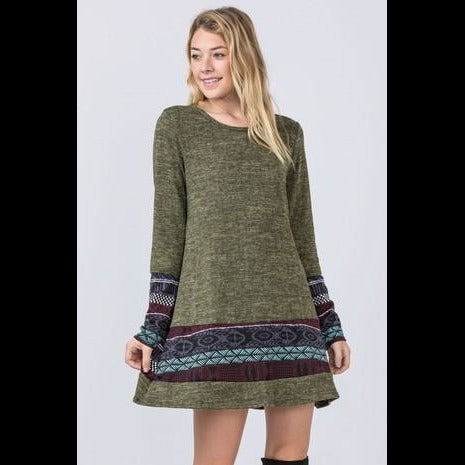 Nordic Days Knit Dress in Olive
