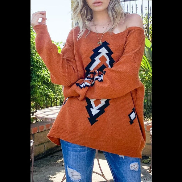 Bunkhouse Native Print Sweater in Rust