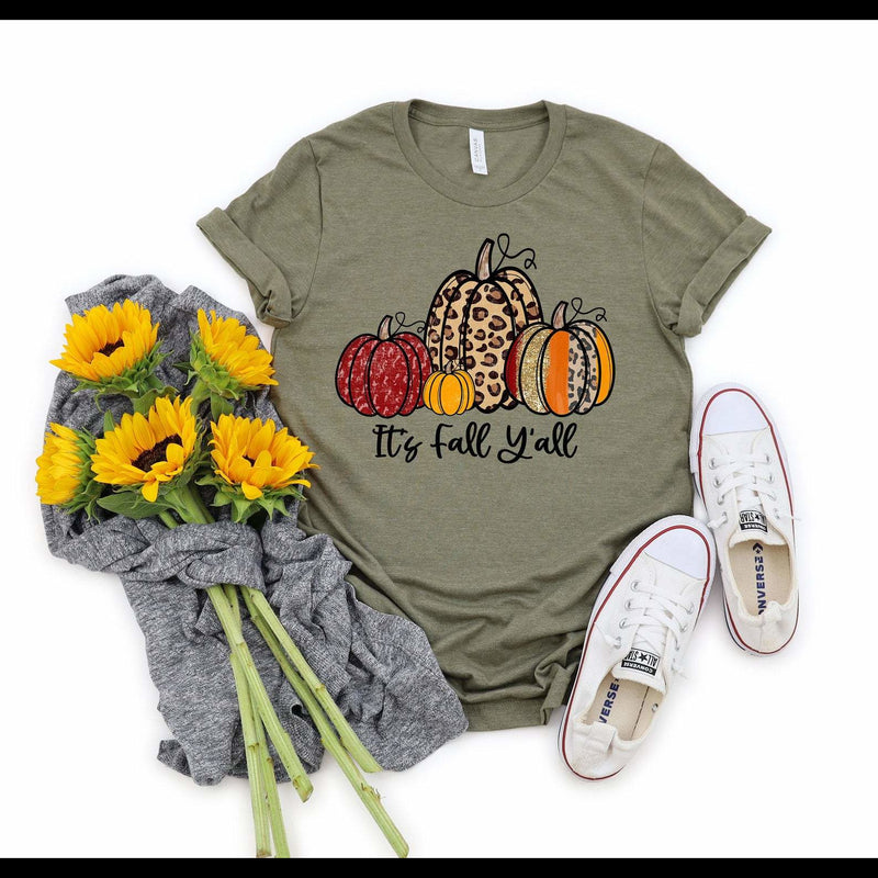 It's Fall Y'all Multi Pumpkin Graphic Tee in Heather Military Green