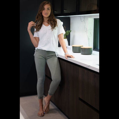 Go Your Own Way Crinkle Jeans in Army Green